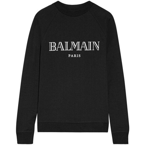 Balmain Printed cotton-jersey sweatshirt (1 710 PLN) ❤ liked on Polyvore featuring tops, hoodies, sweatshirts, black, cut loose tops, balmain, loose fit tops, balmain top and balmain sweatshirt