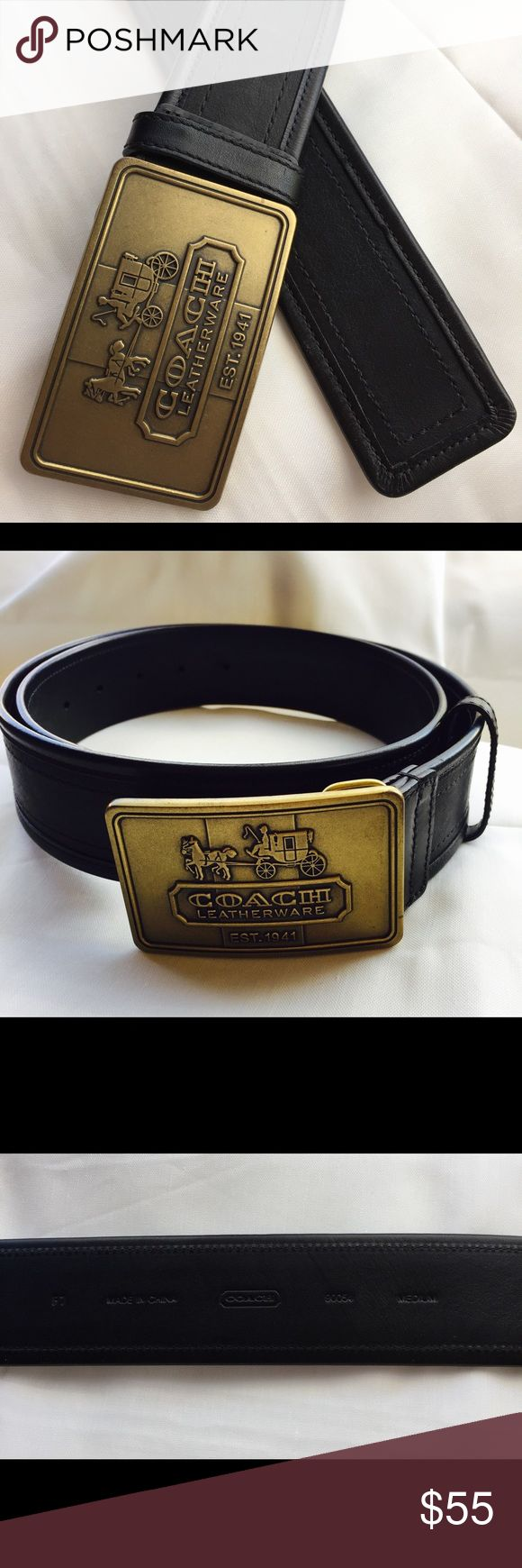 Coach brass belt buckle & black leather belt Rare Coach brass belt buckle and black leather belt. In excellent condition! Was only worn once. Size medium and measures at 40 inches Coach Accessories Belts