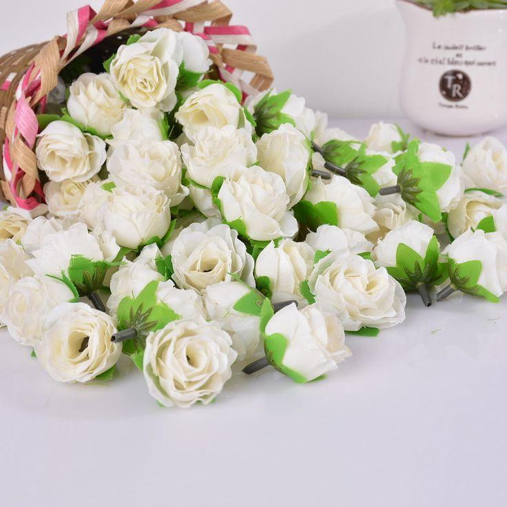 50 Unids Mini Rose Cabeza de Flor Artificial de Flores Juegos Olímpicos Del Banquete de Boda de Navidad Decoración Del Hogar Adornos de Artesanía Multicolor 3.6 cm