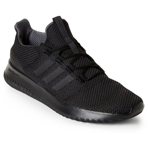 Adidas Black Neo Cloudfoam Ultimate Sneakers ($70) ❤ liked on Polyvore featuring shoes, sneakers, black, adidas, lace up sneakers, black trainers, adidas sneakers and black shoes