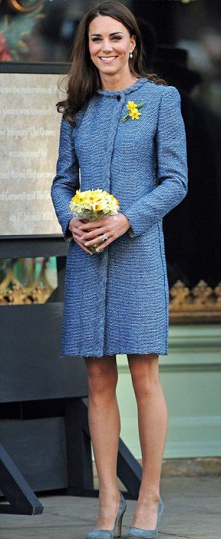 Sporting two daffodils on her lapel in honour of St Davids day, Kate wore a blue coat by Italian label M by Missoni and shoes by Rupert Sanderson