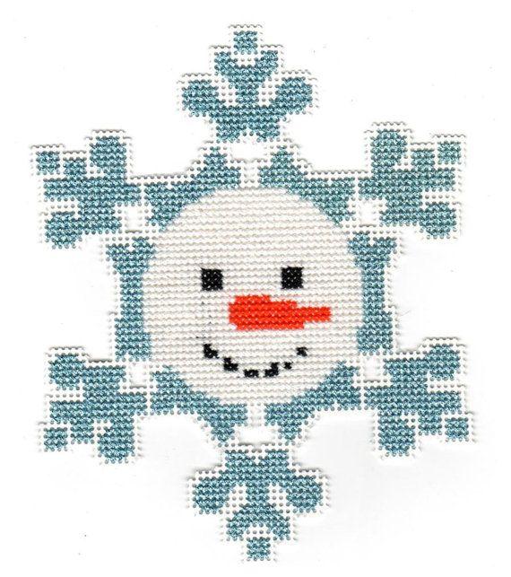 cross stitch snowman christmas ornament chart pdf pattern snowflake instant download