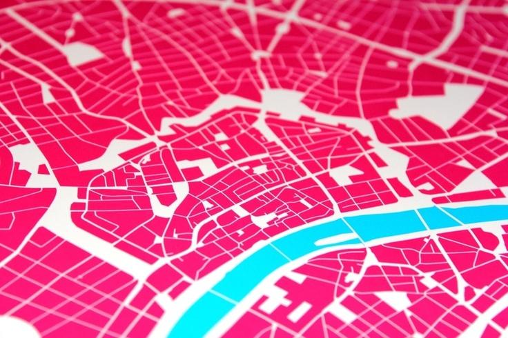 Digitaldruck - Kunstdruck Frankfurt Urban Cartography (Din A1) - ein Designerstück von UrbanCartography bei DaWanda