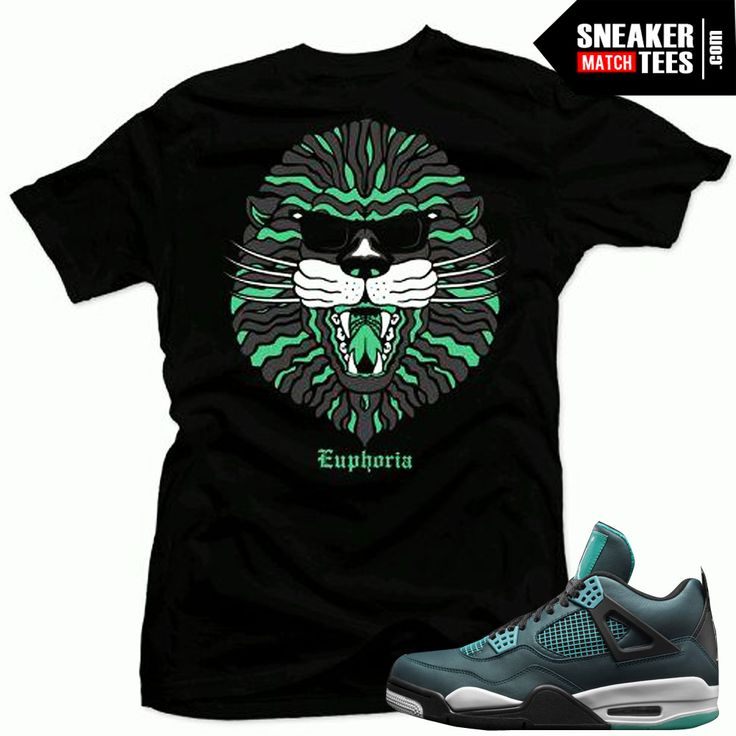 Teal 4s matching shirts sneaker tees | King of the Jungle sneaker tees shirt Black | Streetwear Online