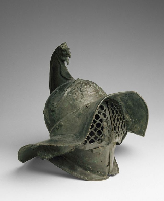Helmet of a Thracian Gladiator.  Troisième quart du Ier siècle ap. J.-C. Found in the gladiators' barracks at Pompei, Campagna, southern Italy.