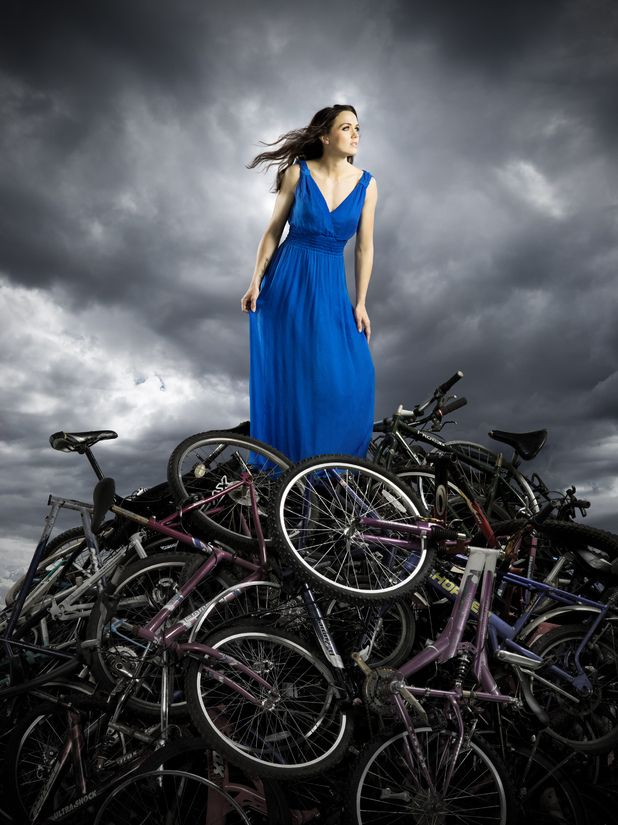 "Victoria Pendleton of cycling fame with a ""glut of velos."""