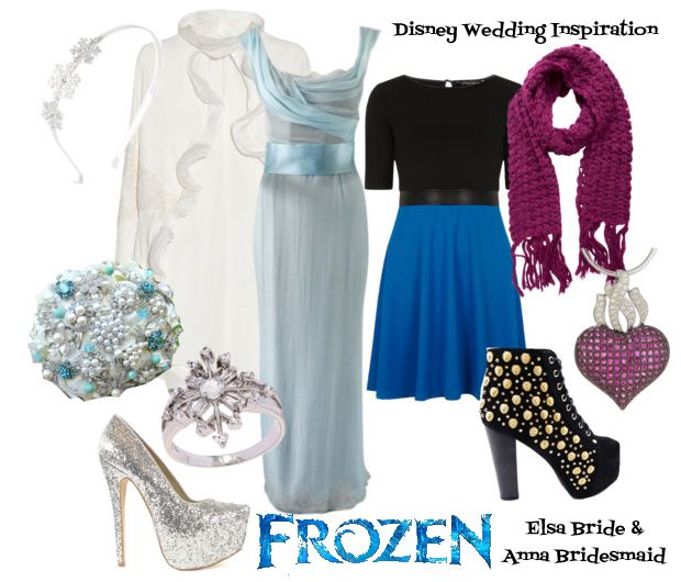 Inspired by Frozen: Elsa Bride and Anna Bridesmaid Style Board // Disney Wedding Inspiration