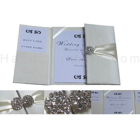 Exclusive handmade silk wedding folder in gate fold design for cards and invites.