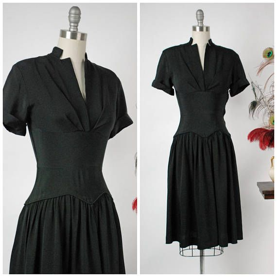 Vintage 1940s Dress Perfectly Styled 40s Rayon Faille Little