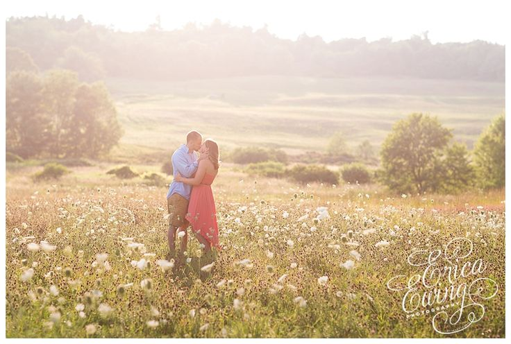 A magical field of tall grass and wildflower...H&M's Sun-Drenched Meadow Engagement Session in Central Massachusetts by Erica Ewing Photography