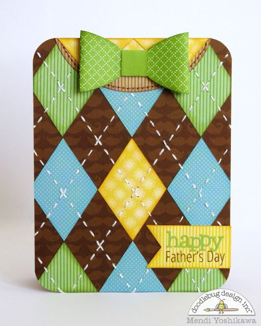 Doodlebug Design Inc Blog: Masculine Father's Day Sweater Vest & Bow Tie Card by Mendi Yoshikawa