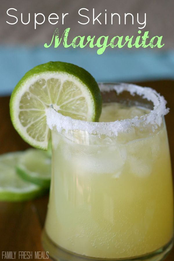 Super Skinny Margarita  (about 100 calories per serving)     Serves 4         Ingredients:    12 ounces Sparkling ICE Lemon Lime water (or any lemon lime flavored sparkling water)  6  ounces tequila  1/4 cup orange juice  2 TBSP fresh squeezed lemon juice  1 lime, cut into 4 slices , for garnish    Optional: coarse salt for rimming glass