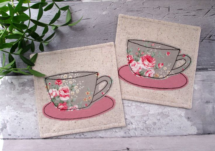 Tea Cup Coasters, Fabric Coasters, Floral Coasters, Gift For Her, Housewarming Gift, Summer Decor, Small Gift Idea, Drink Coasters by TheCornishCoasterCo on Etsy