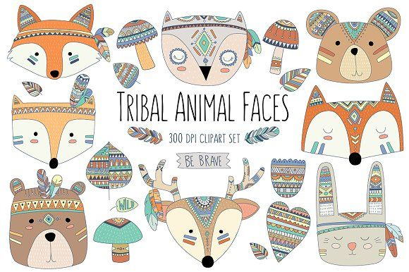 Woodland Tribal Animals & Elements by Kenna Sato Designs on @creativemarket