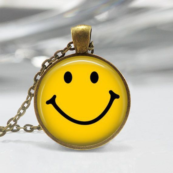 Classic Yellow Smiley Face Necklace Be by MissingPiecesStudio