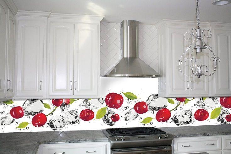 Кухонный фартук Вишня и лед. Цена 430 грн. Декор для ванной и кухни, декор и текстиль для кухни, декоративные наклейки, наклейки printable, наклейки на кухню, виниловые наклейки для кухни, декоративные наклейки на мебель.