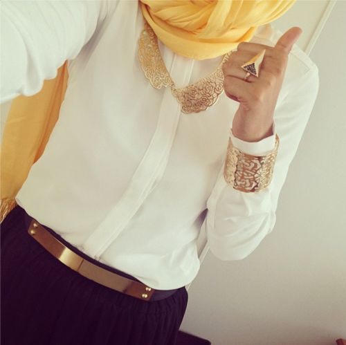 Business Casual White Button Up Top & Black Pants/Skirt w/ mono-gold jewelry & pop of color yellow scarf