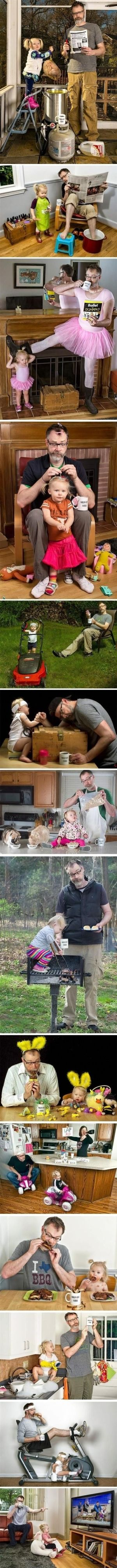 """When his daughter was a baby, Dave Engledow took a funny photo of himself holding her like a football while squirting her bottle of milk into his """"World's Best Father"""" coffee mug. It was meant as a joke, but the photo got such a positive reaction that it became a regular hobby and an internet sensation… not to mention, a great father-daughter bonding experience! Awesome. by Leticia A."""