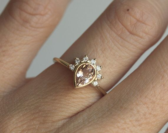 Black Friday SALE Pear Morganite Engagement Ring by MinimalVS