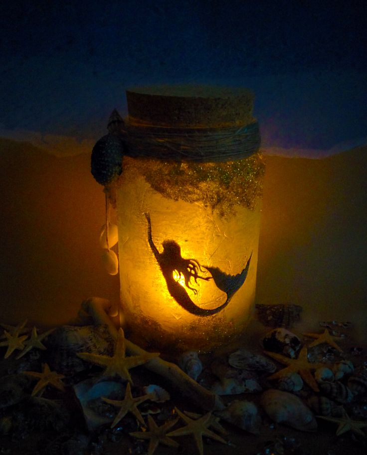 Mermaid Jar with glitter, nightlight