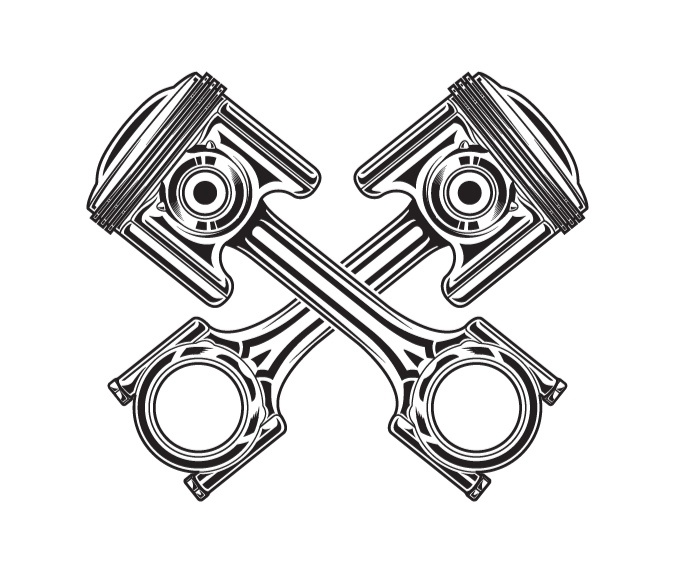 Line art vector illustration of a motorcycle piston ...