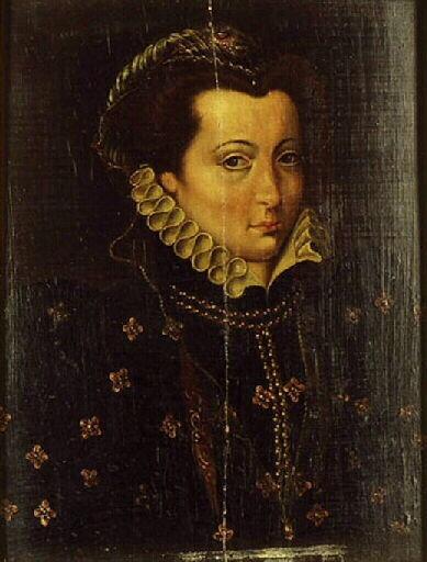 anonyme  TitrePortrait de femme avec une coiffe ornée d'une agrafe