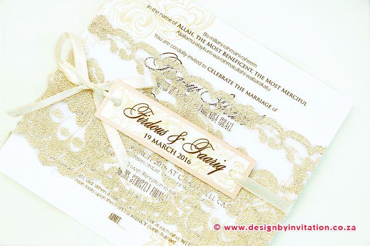 Vintage Wedding Invitation with Lace © www.designbyinvitation.co.za
