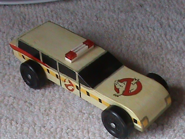 Ghostbusters Pinewood Derby car