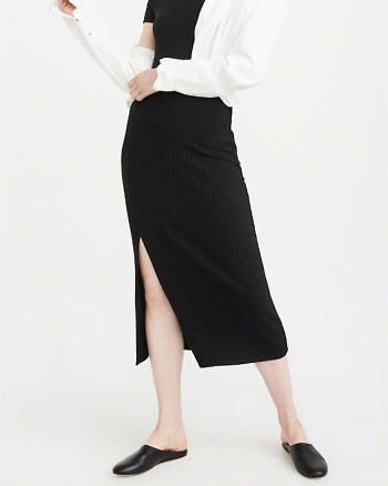 Side Slit Midi Skirt from Abercrombie & Fitch $38,00
