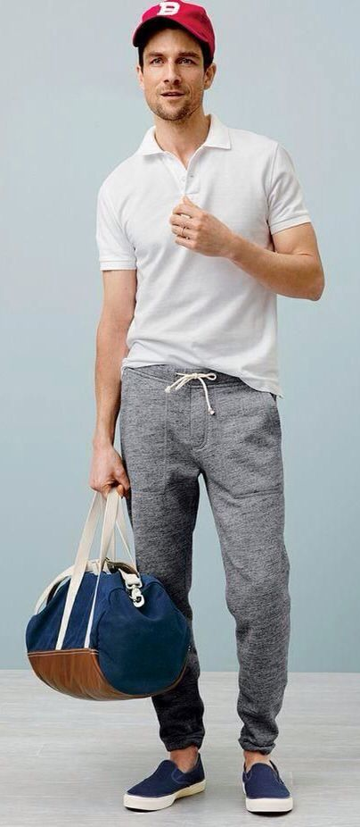 White Polo, Grey Drop Crotch Sweat Pants, and Navy Sneakers, via J.Crew.  Men's Spring Summer Fashion.