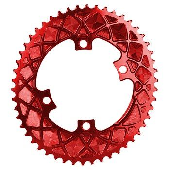 Image of absoluteBLACK Oval Road 2x 110/4 BCD Chainring - Racing Red