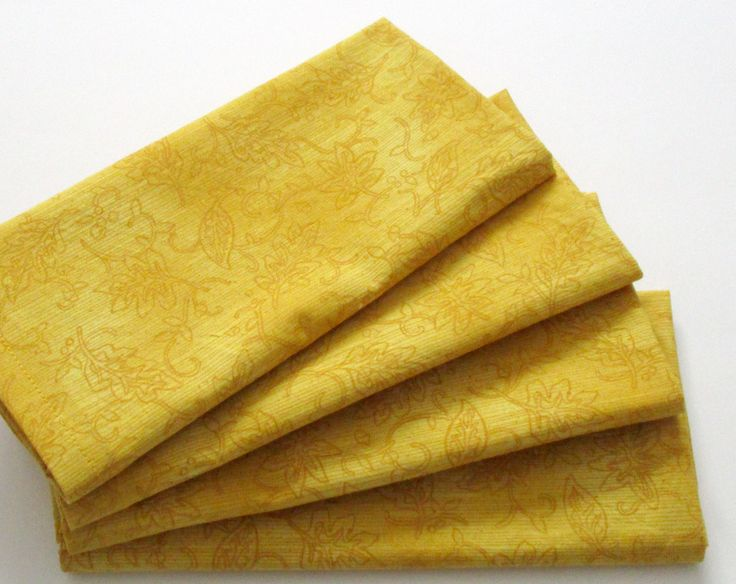 Large Cloth Napkins - Set of 4 - Yellow Gold Botanical Leaves - Dinner, Table, Everyday, Wedding by ClearSkyHome on Etsy