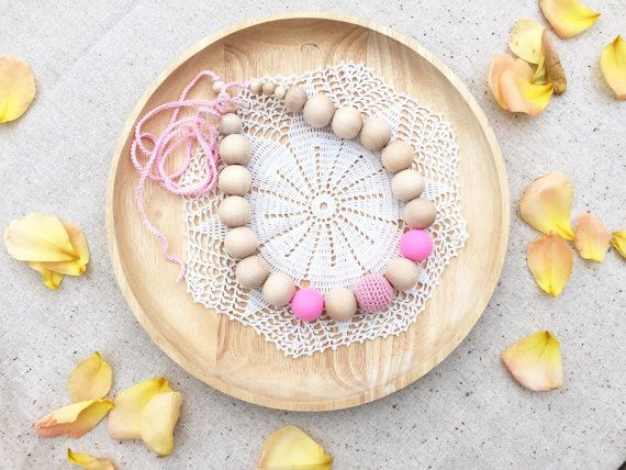Ready to ship Nursing necklace Pink Teething wood by ForeverValues
