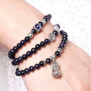 韩国水晶手链 名族风波西米亚蓝砂石小花朵花生珍珠多层手链手串