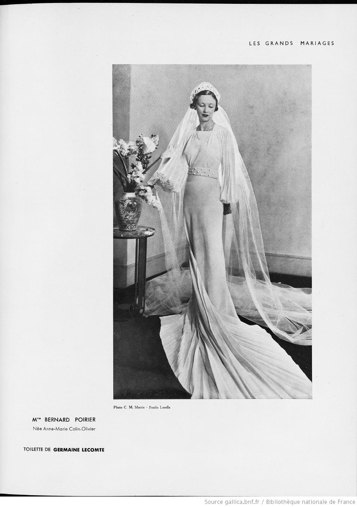 Modes (Paris) 1935  Wedding Dress. Germaine Lecomte.