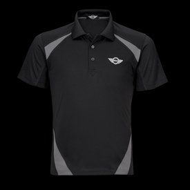 MINI Cooper Ladies' Half Zip SS Tech Polo -Black - Size Medium (photo shows men's version) by MINI Cooper. $46.99. (photo shows men's version)  Stay cool with moisture management jersey body and lightweight mesh blocked panels. UV protection, zip-neck stand-up collar with contrast top binding, front princess seams, hemmed sleeves. 100% polyester. European fit. Imported.