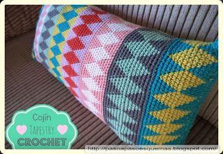 Mis Pasatiempos  Amo el Crochet: Cojín Tapestry Crochet -
