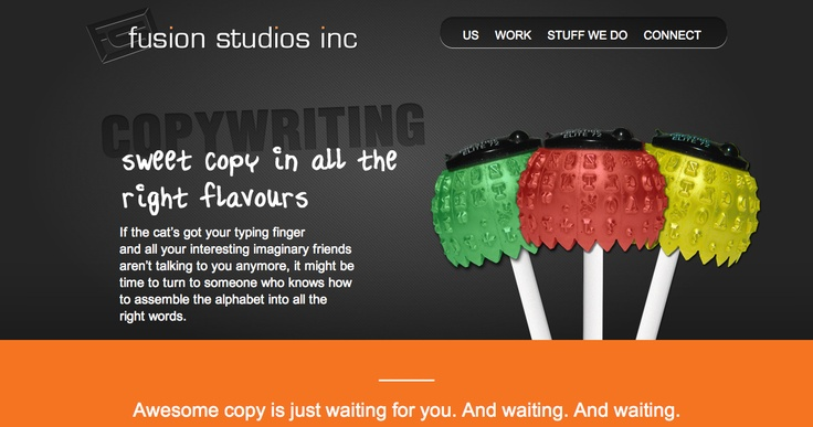 Copywriting page, Fusion Studios.