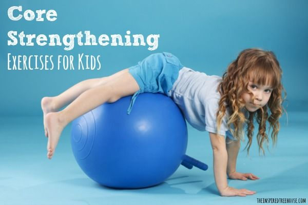 Great core strengthening activities and exercises for kids from a pediatric physical therapist.  Ideas to help with posture, w-sitting, and more!