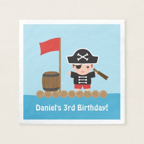 Cute Boy Pirate Treasure Hunt Birthday Party Paper Napkin