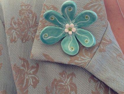 Ceramic Flower Brooch