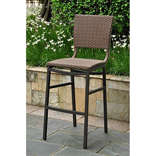Barcelona Set of Two Resin Wicker/Aluminum Bar Stools. Brand: International Caravan Barcelona Set of Two Resin Wicker/Aluminum Bar Stools Color: Antique Brown Product Materials: Resin Wicker/Alum.