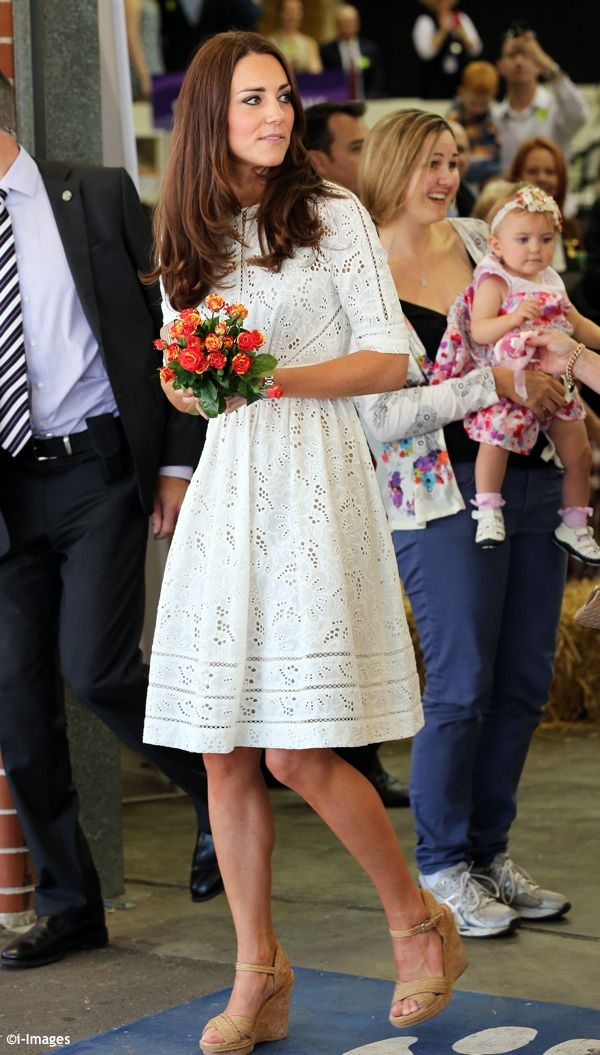 Will & Kate attended the annual Royal Easter Show in Sydney, Australia. Kate was wearing Zimmermann's Roamer Day Dress, a Natalie handbag from LK Bennett & Stuart Weitzman Minx Espadrille Wedges. - 4/18/2014
