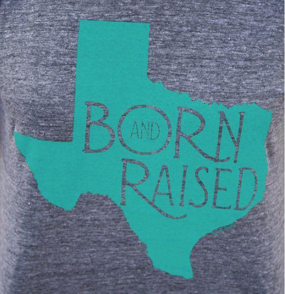 SMALL Turquoise Born & Raised Texas T-Shirt, Native Texan, Aqua on Grey American Apparel Women's Tee Shirt