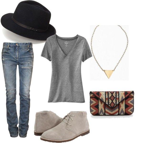 desert boots + blue jeans + grey v-neck tsheet + black fedora - definitely MY STYLE