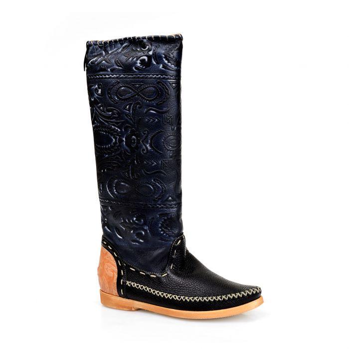 Giemme Кожаные черные сапоги из кожи с тиснением от бренда Giemme