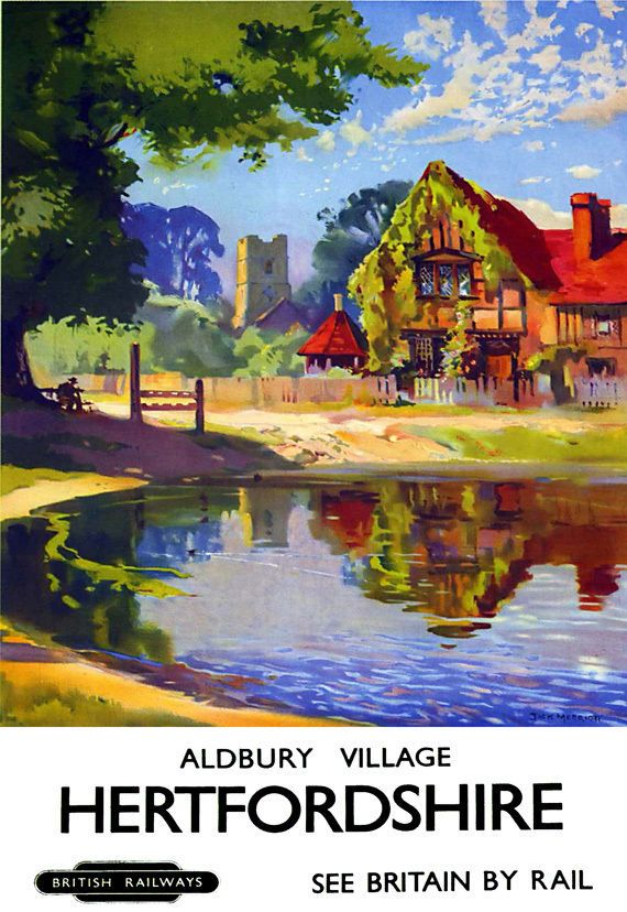 Aldbury Village near Tring in Hertfordshire as depicted in this fab British Railways poster. http://www.chilterns-stay.co.uk/aldbury-may-fair.aspx and right on the doorstep of the National Trust's Ashridge Estate.... http://www.chilterns-stay.co.uk/the-national-trust-ashridge-estate.aspx