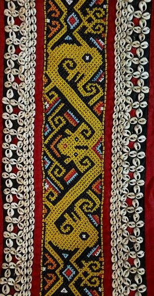 Beaded section of an antique skirt from Kalimantan, Borneo.  #manik #iban  www.kulukgallery.com