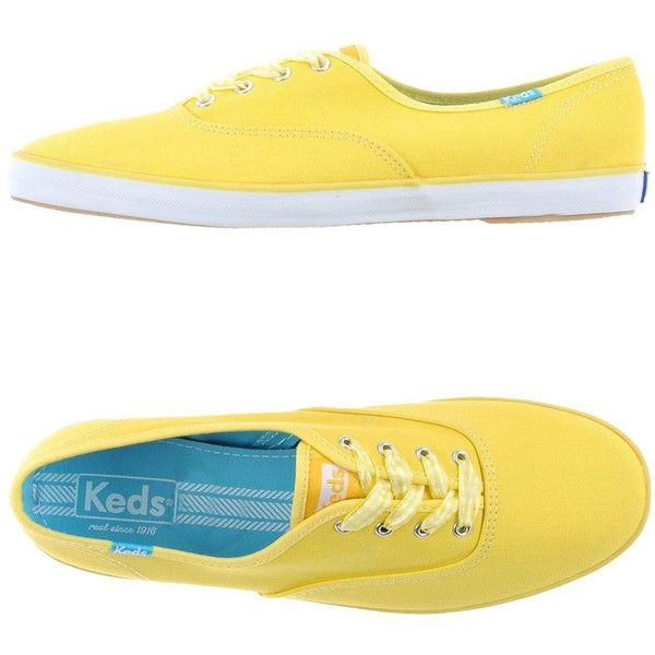 Keds Sneakers ($54) ❤ liked on Polyvore featuring shoes, sneakers, yellow, keds, round toe sneakers, flat shoes, keds footwear and rubber sole shoes