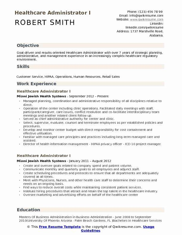 Resume Objectives For Healthcare Inspirational Healthcare Administrator Resume Samples In 2020 Resume Examples Manager Resume Marketing Resume